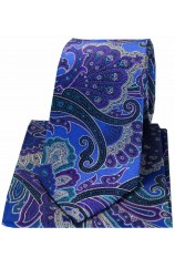 Posh & Dandy Large Edwardian Blue Purple Green Paisley Silk Tie & Hanky Set