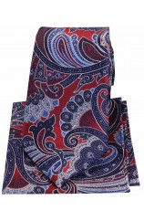 Posh & Dandy Large Edwardian Red Navy Blue Paisley Silk Tie & Hanky Set