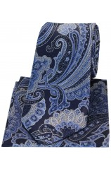 Posh & Dandy Large Edwardian Navy & Blue Paisley Silk Tie & Hanky Set
