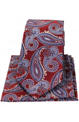 Posh & Dandy Large Red & Blue Paisley Silk Tie & Hanky Set