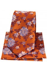 Posh & Dandy Burnt Orange Floral Silk Tie & Hanky Set