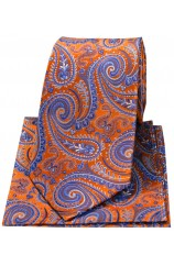 Posh & Dandy Orange Swirly Paisley Silk Tie & Hanky Set
