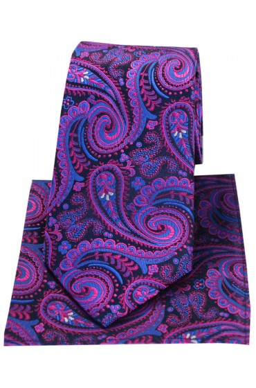 Posh & Dandy Navy With Magenta Swirly Paisley Silk Tie & Hanky Set