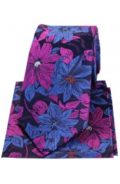 Posh & Dandy Purple And Blue Large Flowers Silk Tie & Hanky Set