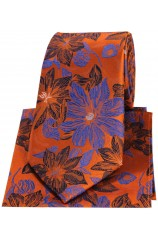 Posh & Dandy Orange And Blue Large Flowers Silk Tie & Hanky Set