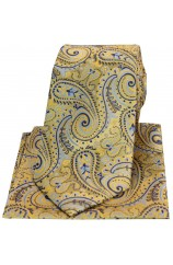 Posh & Dandy Gold With Blue Swirly Paisley Silk Tie & Hanky Set