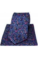 Posh & Dandy Italian Design Navy Blue Ground With Multi Coloured Flowers Silk Tie And Hanky