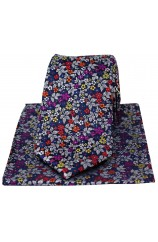 Posh & Dandy Italian Design With Multi Coloured Small Flowers Silk Tie And Hanky