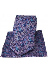 Posh & Dandy Italian Design With Multi Coloured Leaf & Flowers Silk Tie And Hanky