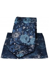 Posh & Dandy Italian Design Navy With Large Flowers Silk Tie
