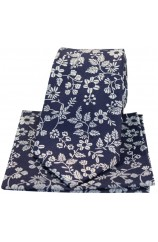 Soprano Navy With White Flowers Silk Tie And Hanky Set