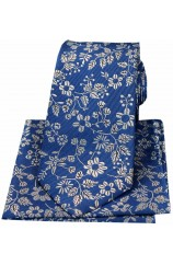 Soprano Blue With White Flowers Silk Tie And Hanky Set