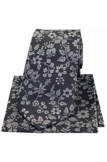 Soprano Grey With Silver Flowers Silk Tie And Hanky Set