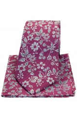 Soprano Fuchsia With Silver Flowers Silk Tie And Hanky Set