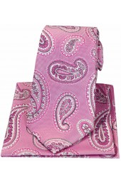 Soprano Pink Paisley Matching Silk Tie And Hanky Set