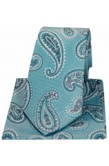 Soprano Turquoise Green Paisley Silk Tie And Hanky Set