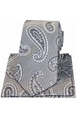 Soprano Matching Grey Paisley Silk Tie And Hanky Set