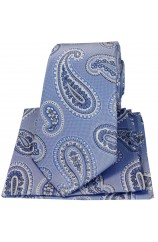 Soprano Matching Blue Paisley Silk Tie And Hanky Set