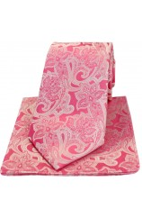Soprano Pink Edwardian Floral Silk Tie And Hanky Set
