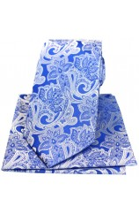 Soprano Blue Edwardian Floral Silk Tie And Hanky Set