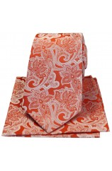 Soprano Orange Edwardian Floral Silk Tie And Hanky Set