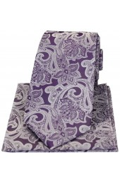 Soprano Lilac Edwardian Floral Silk Tie And Hanky Set
