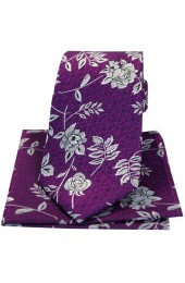 Soprano Purple Flower And Leaf Silk Tie And Hanky Set