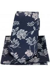 Soprano Navy Flower And Leaf Silk Tie And Hanky Set
