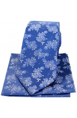 Soprano Blue With Small Flowers Silk Tie And Hanky Set