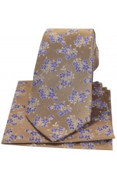 Soprano Tan With Blue Small Flowers Silk Tie And Hanky Set