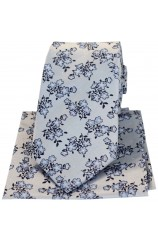 Soprano Silver Ground With Small Flowers Silk Tie And Hanky Set