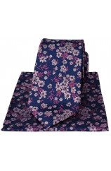 Soprano Navy Ground Pink And Fuchsia Flowers Silk Tie And Hanky