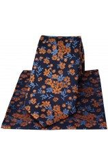 Soprano Navy Ground Blue And Burnt Orange Flowers Silk Tie And Hanky