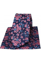 Soprano Navy Ground Blue And Fuchsia Flowers Silk Tie And Hanky