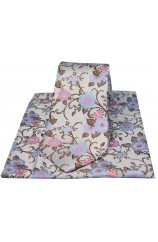 Soprano Silver With Pink and Blue Flowers Silk Tie and Pocket Square