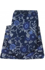 Soprano Navy Flowers Silk Tie And Hanky