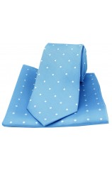 Soprano Sky Blue and White Polka Dot Silk Tie and Pocket Square