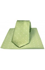 Soprano Lime Green and White Polka Dot Silk Tie and Pocket Square
