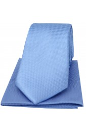 Soprano Sky Blue Herringbone Silk Tie And Hanky Set