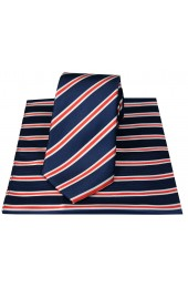 Soprano Navy Red And White Striped Silk Tie Hanky Set