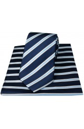 Soprano Navy Sky And White Striped Silk Tie And Hanky Set