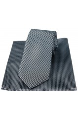 Soprano Grey And Black Dogtooth Tie And Hanky Set