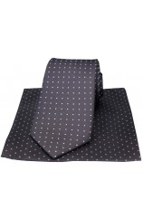 Soprano Grey & White Pin Dot Silk Tie And Hanky Set