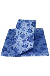 Soprano Sky Blue Floral Patterned Silk Tie And Hanky Set