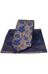 Soprano Bronze Floral Patterned Silk Tie And Hanky Set