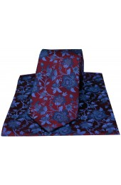 Soprano Wine And Blue Floral Patterned Silk Tie And Hanky Set