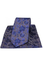Soprano Grey And Blue Floral Patterned Silk Tie And Hanky Set