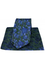 Soprano Green And Blue Floral Patterned Silk Tie And Hanky Set
