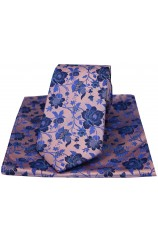Soprano Dusky Pink Floral Patterned Silk Tie And Hanky Set
