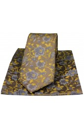 Soprano Camel And Gold Floral Patterned Silk Tie And Hanky Set